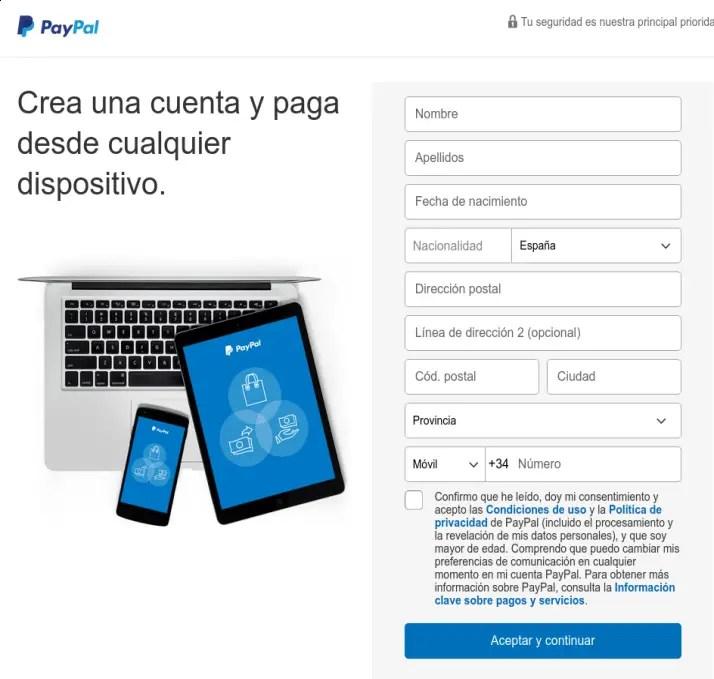 crear cuenta personal de PayPal
