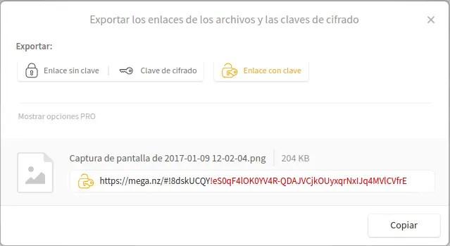 descarga archivo mega clave de crifrado