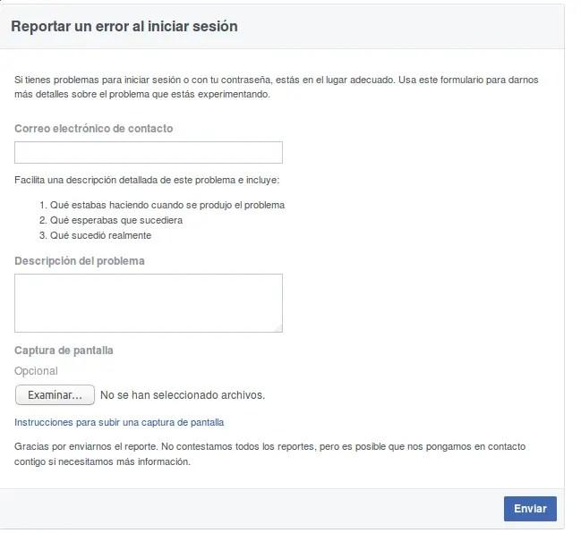 enviar correo a Facebook para recuperar cuenta
