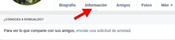 Información de cuenta en Facebook para PC