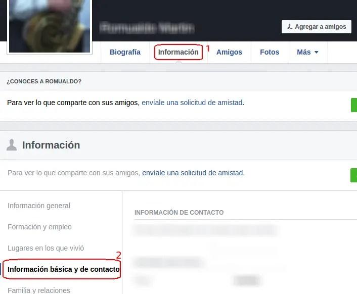 información de contacto en Facebook