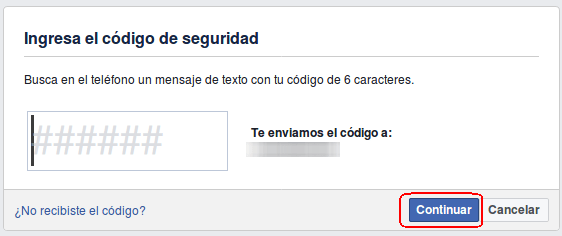 ingresar código de seguridad sms para Facebook