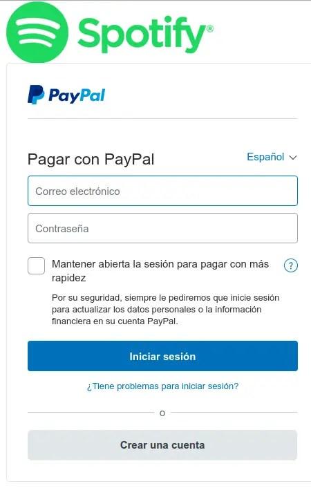 pagar Spotify en PayPal