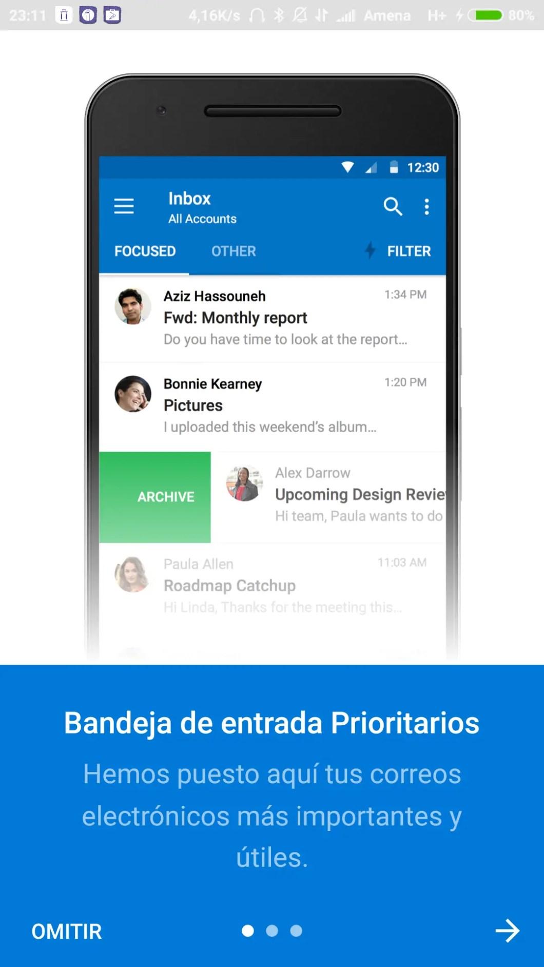 presentación de servicios de Outlook