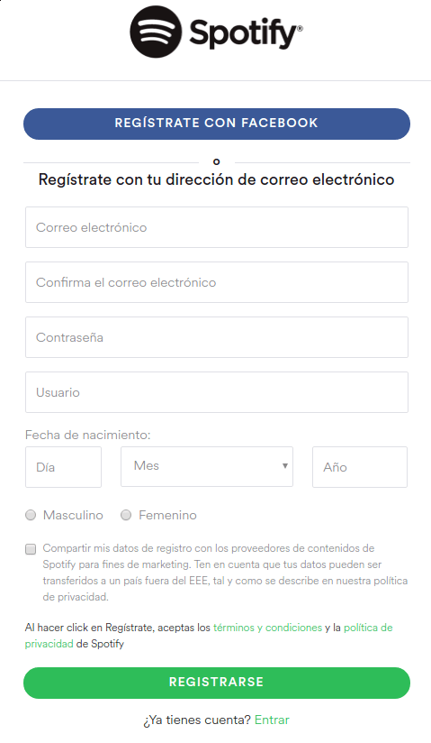 registrarte en Spotify con Facebook