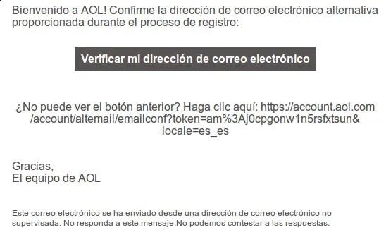 verificar cuenta AOL a través de correo alternativo
