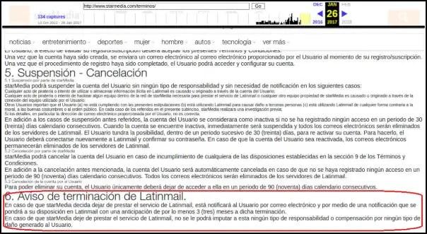 Aviso de terminación del servicio de Latinmail