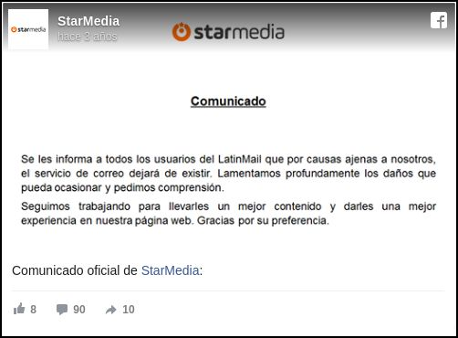 Comunicado de starMedia sobre Latinmail