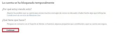 cuenta de Hotmail bloqueada temporalmente