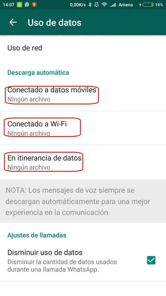 uso de datos en WhatsApp