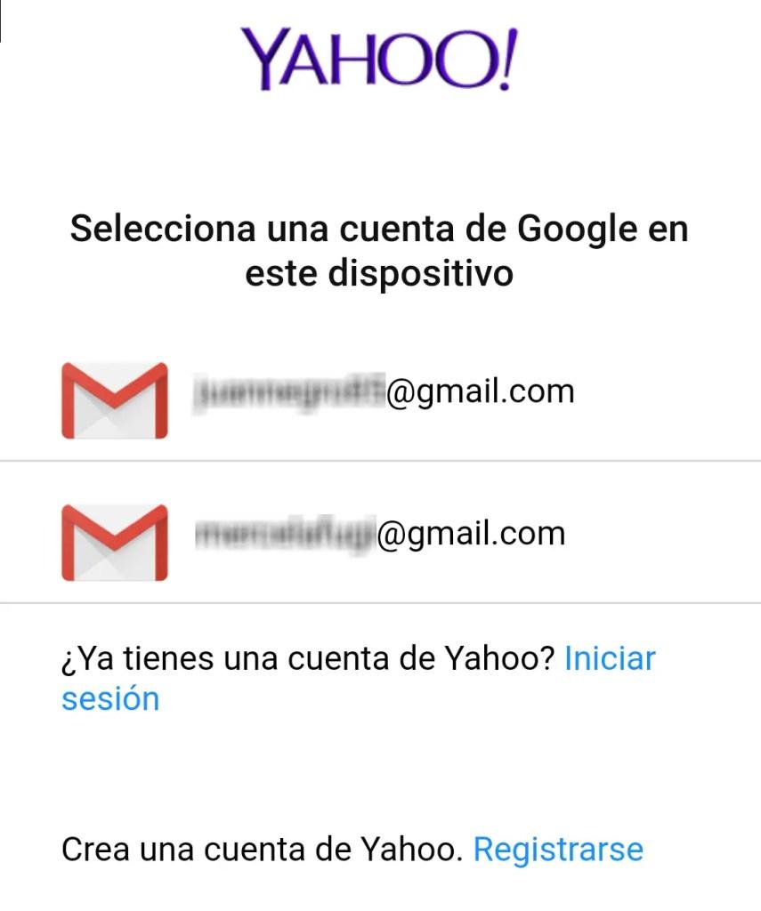 Cuenta de Gmail dentro de la APP de Yahoo
