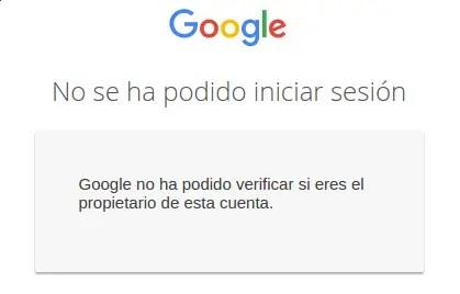cuenta que no se ha podido verificar como propietario por parte de Google