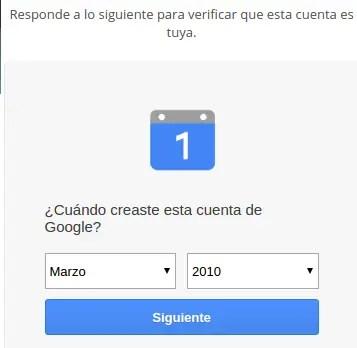 fecha de creación de la cuenta de Gmail