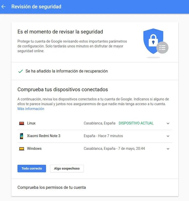 revisión de seguridad de tu cuenta de Google