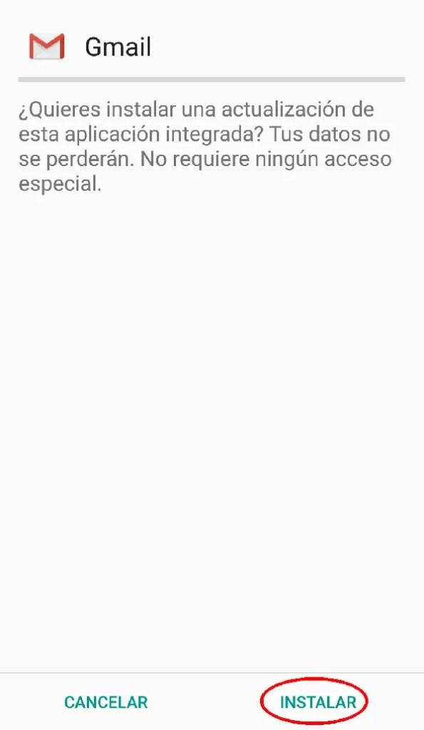 instalar gmail en Android