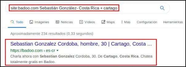 Buscar personas de Badoo en Google