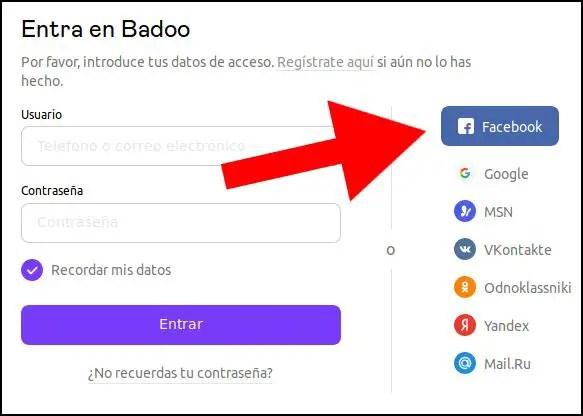registro de Badoo en Facebook