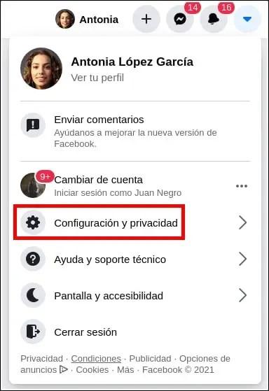 configuración y privacidad Facebook