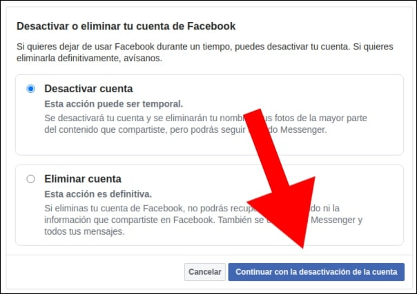 desactivar o eliminar cuenta facebook