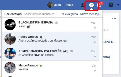 conversaciones de Messenger
