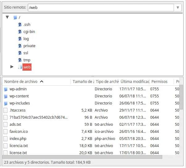 copia de seguridad de archivos WordPress