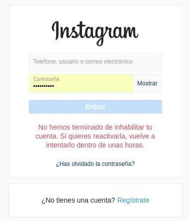 cuenta deshabilitada de Instagram