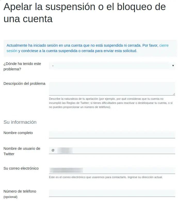 suspensión o bloqueo de cuenta de twitter, apelación