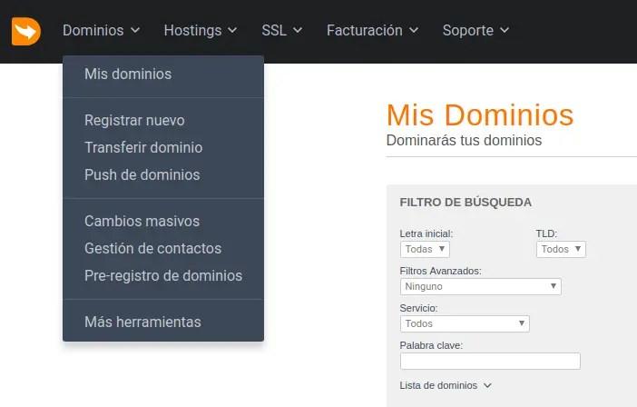 dominios, mis dominios