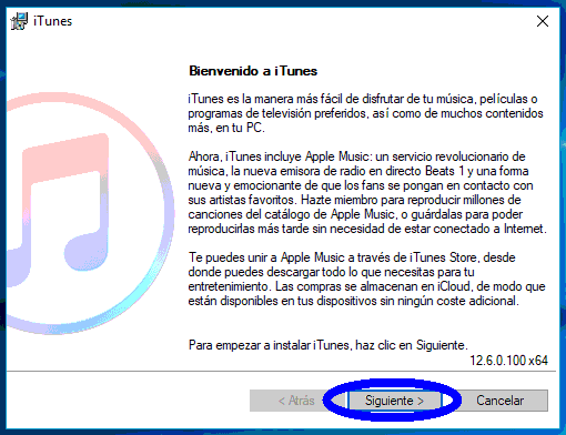 instalación de iTunes en Windows