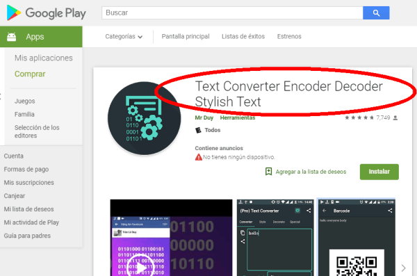 Text Converter Encoder/Decoder en Play Store