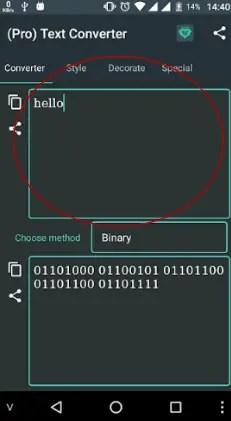 escribir texto en text converter