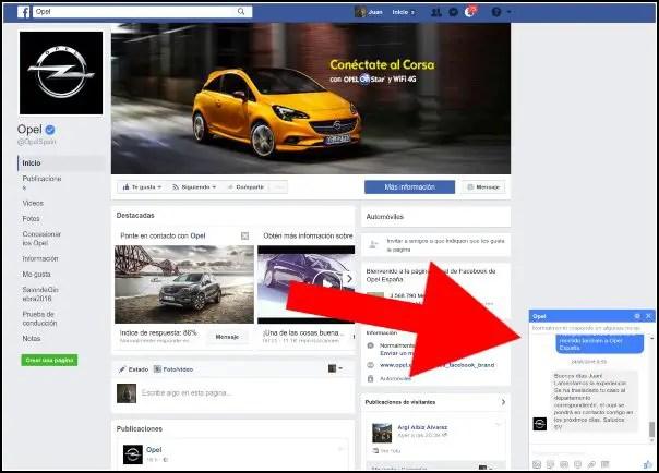 Enviar un inbox a una página de Facebook