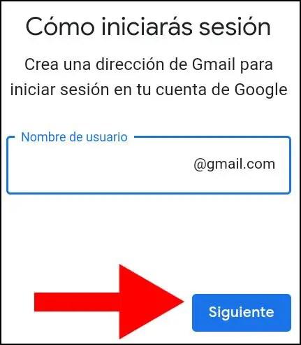 Introducir correo electrónico de Google