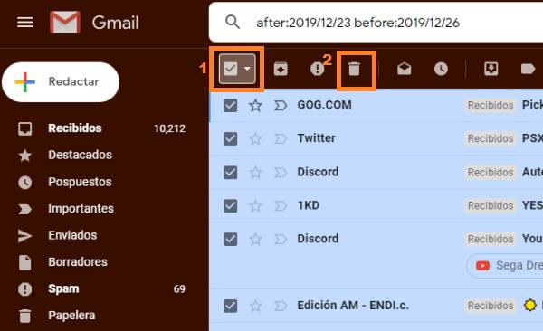 eliminar correos por fecha en Gmail
