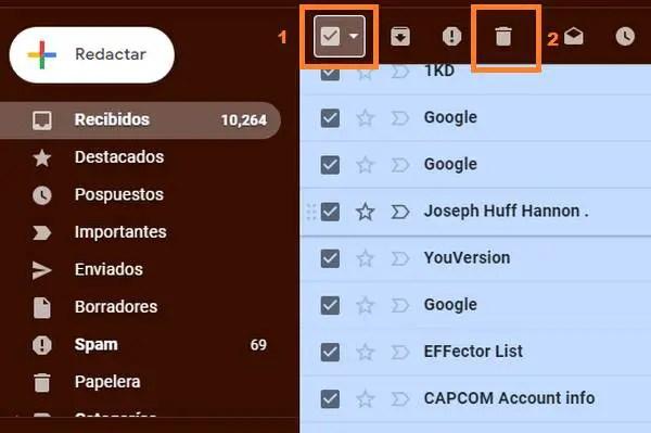 seleccionar todos los correos de Gmail