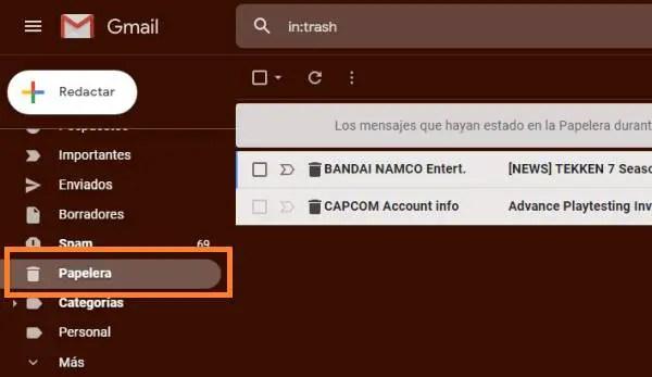 ir a papelera de Gmail