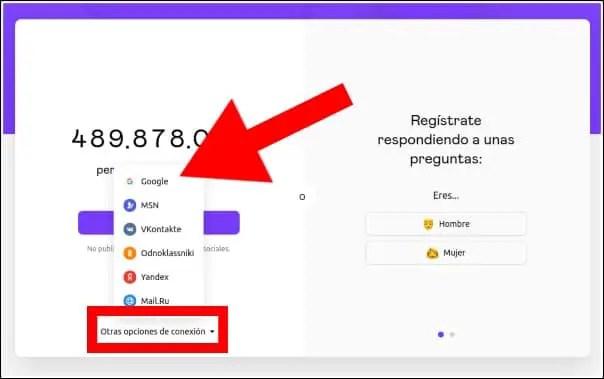 conexión Gmail con Badoo