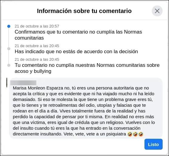 apelación restricción de Facebook