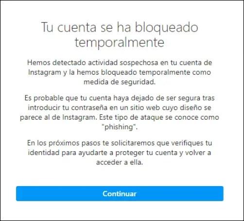 cuenta bloqueda instagram phishing