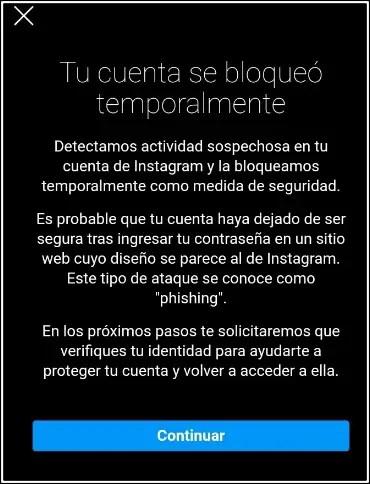 cuenta instagram bloqueada temporalmente