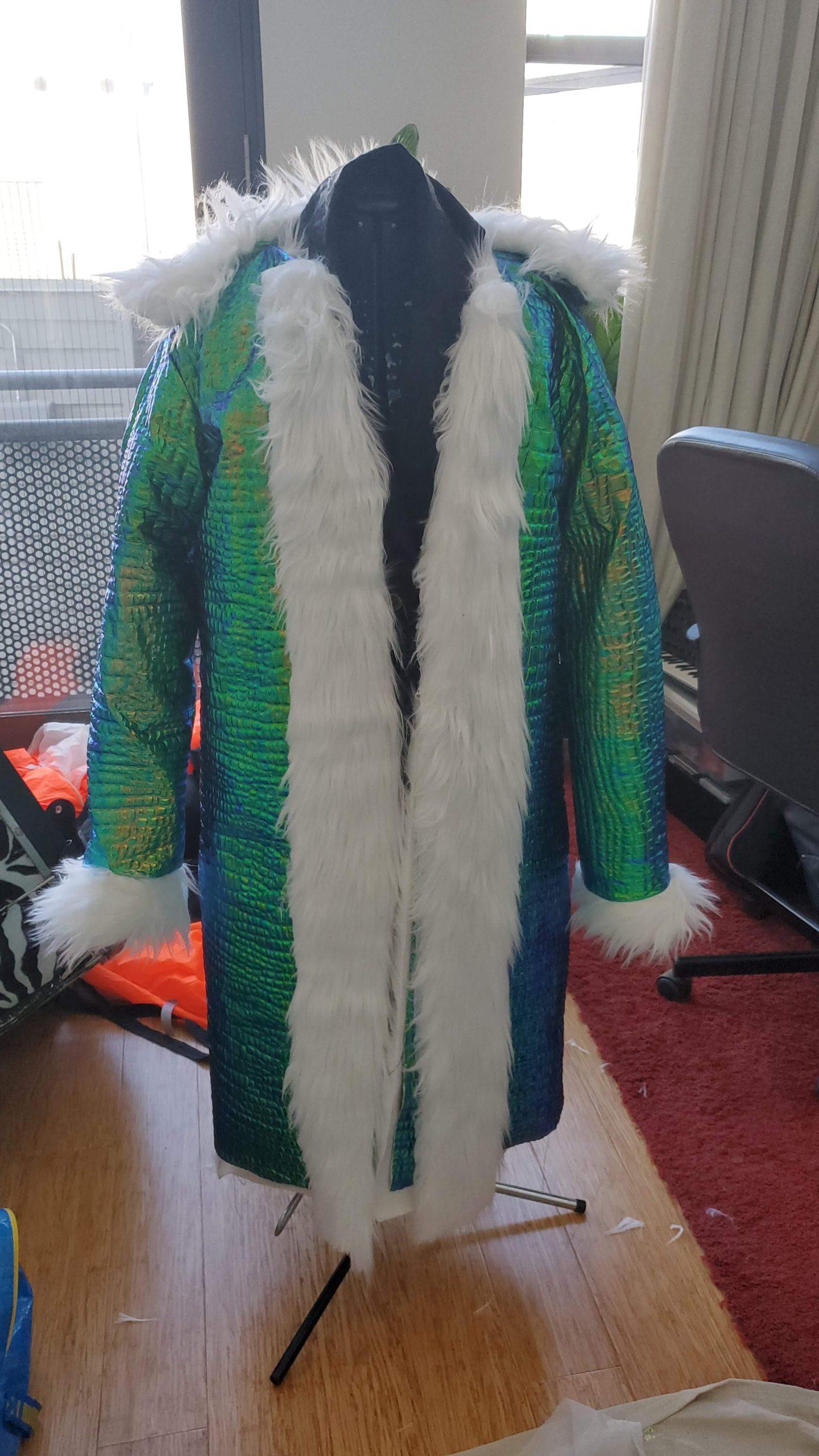 burning man custom coat, burning man fur coat, burning man custom fur coat
