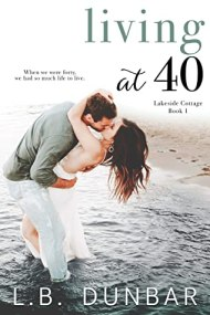Living at 40 cover - (un)Conventional Bookworms - Weekend Wrap-up. There's a couple on the cover, they're in the water on a beach, embracing, and the man is tilting the woman backwards a bit for their kiss. It looks romantic (but also a bit uncomfortable).