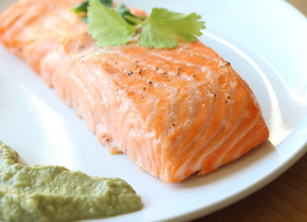 Quick 15 minute Broiled Salmon with Avocado Remoulade (Gluten Free, Paleo)