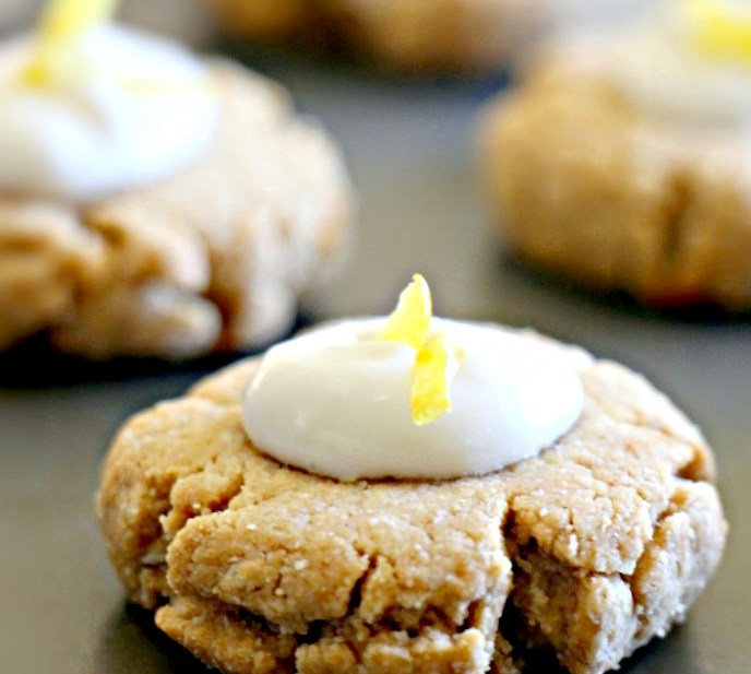 Paleo Gingernut Cookies with Lemon-Coconut Icing (Vegan, Oil-Free)