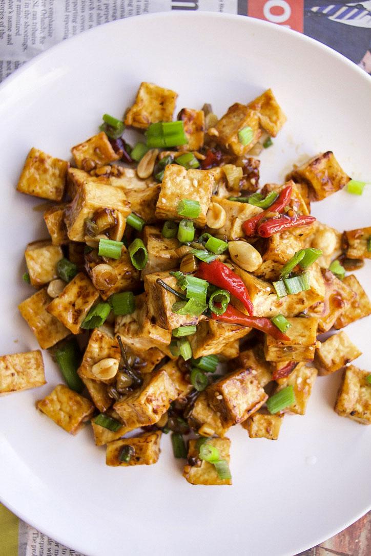 Vegan Kung Pao Tofu (GF, Oil-Free)