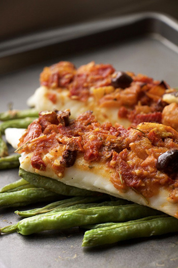Healthy Mediterranean Tilapia with Tomato-Olive Sauce (GF, Nut-Free, DF)