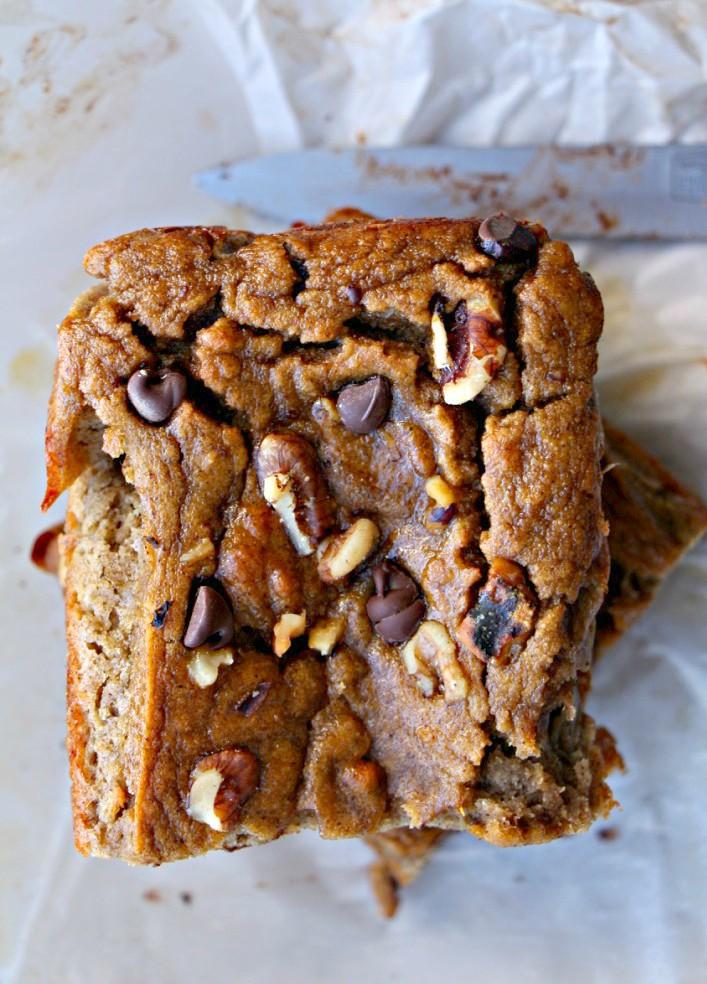 Low-Carb Chocolate Banana Walnut Loaf (GF, Paleo, Oil-Free, Refined Sugar Free)