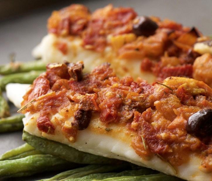 Healthy Mediterranean Tilapia with Tomato-Olive Sauce (GF, Nut-Free, DF)