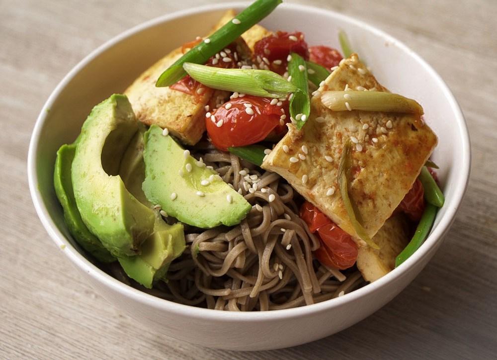 Kylie Kwong's Braised Tofu  Buckwheat Noodle Power Bowl (GF, Vegan, Vegetarian, Nut-Free)