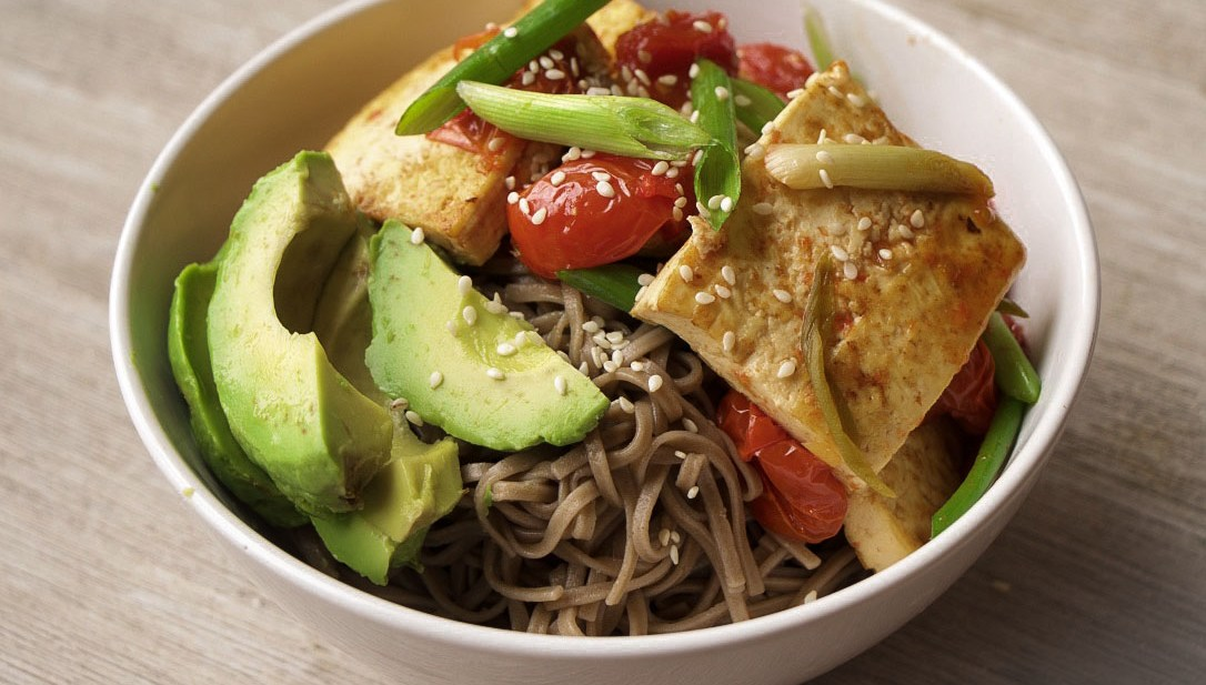 Kylie Kwong's Braised Tofu  Buckwheat Noodle Power Bowl (GF, Vegan, Vegetarian, Nut-Free)